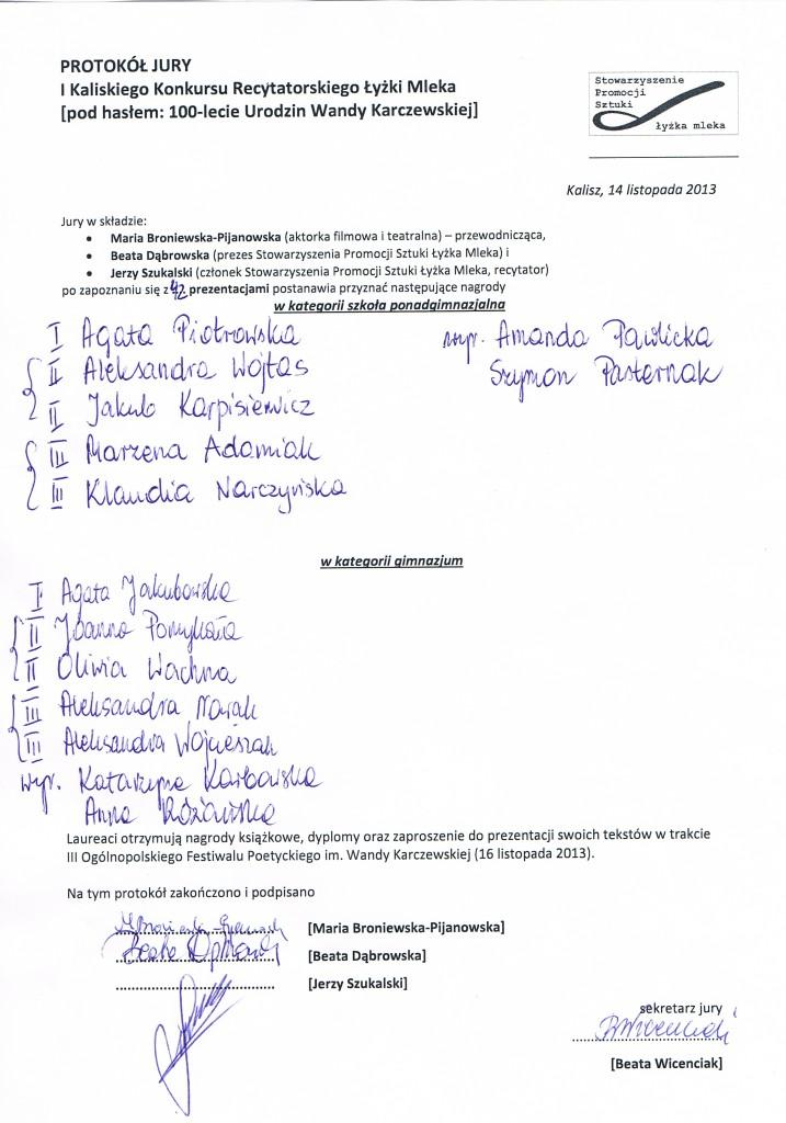 protokół jury konkurs recytatorski