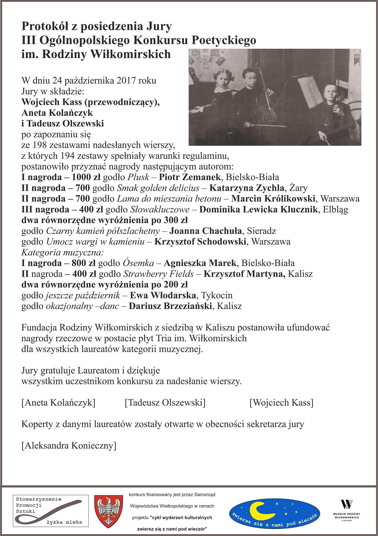 Iii Konkurs Poetycki Im Rodziny Wiłkomirskich