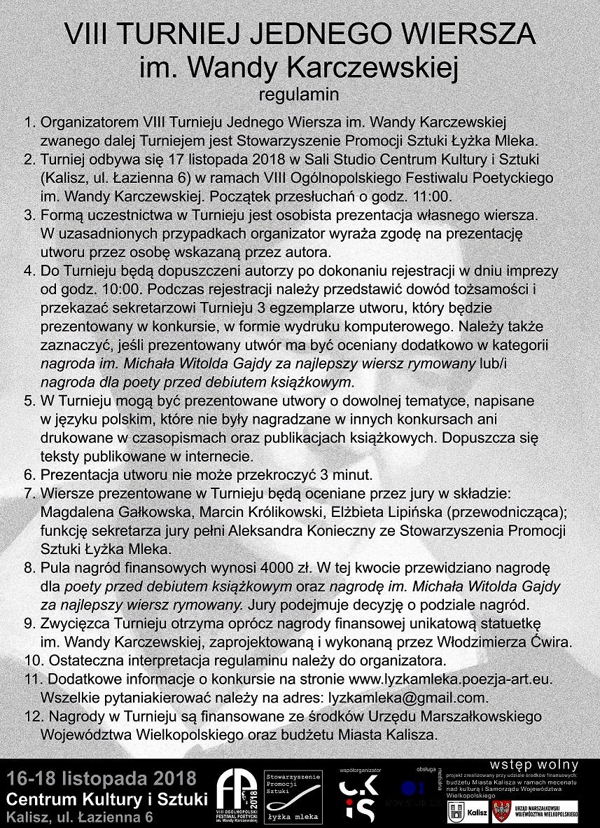 Viii Turniej Jednego Wiersza Im Wandy Karczewskiej 17 Xi
